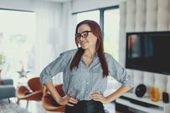 Young modern nerd woman feeling good at home royalty free stock photo