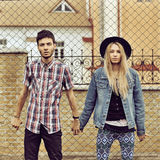 Young modern stylish hipsters couple outdoor Stock Photo
