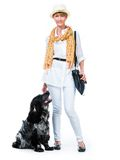Young modern woman with her dog cocker spaniel Royalty Free Stock Photography