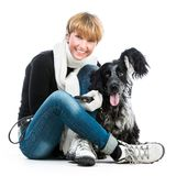 Young modern woman with her dog cocker spaniel Stock Image