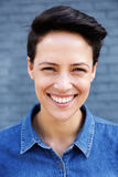Young modern woman with short hair smiling stock photos