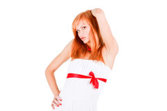 Young modest beautiful girl in white Stock Photography