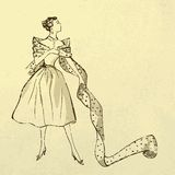 Young modish woman with bolt of fabric. Young woman try on fabric. Retro style Royalty Free Stock Photo
