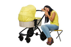 The young mom with baby and pram Royalty Free Stock Photos