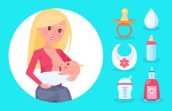 Young Mom with Bright Hair Feeding Cute Small Baby. Vector illustration isolated on blue, white circle and cream drop, bib and nipple, set of bottles vector illustration