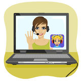 Young Mom Chatting With Her Daughter Via Internet. Video Call And Chat Concept. Modern Communication Technology. Stock Images