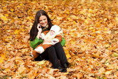 Young mom with child in hand Royalty Free Stock Photography