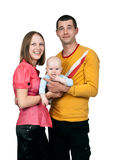 Young mom dad keeps baby Stock Images
