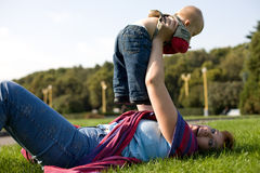 Young mom and her son Stock Images