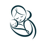 Young mom hugs her baby. Stylized vector symbol Royalty Free Stock Photo