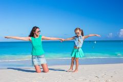 Young mom and little girl during summer vacation Royalty Free Stock Images