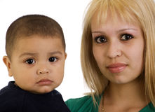 Young mom and son. Portrait of a happy young mom and son stock photos
