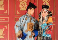 Young Mongolian couple in an old Mongolian costume. royalty free stock photography