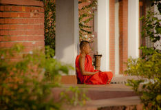 Young monk in Lumbini Stock Images