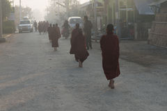 Young monks get food offerings in early morning Stock Photos