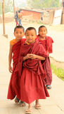 Young monks in Kathmandu, Nepal on April 04, 2014 Royalty Free Stock Image