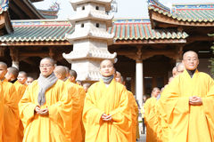 Young monks of nanputuo temple hold blessing ceremony Royalty Free Stock Images
