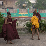 Young monks are playing ball Royalty Free Stock Image