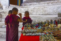 Leh district , Jammu and Kashmir, India, June 2016, Young Monks at a shop