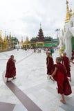 Young monks. At Shwedagon pagoda in Yangon, Myanmar Stock Image
