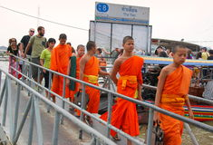 Young Monks at Tha Tien Pier Royalty Free Stock Photography