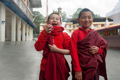 Young monks. Two adolescent student monks are sharing light moments at Do Drul Chorten Stupa complex ,Sikkim, India Stock Photos