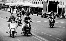 Young Moped Gang Royalty Free Stock Photos