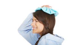 Young morning woman with headache. Stock Photos
