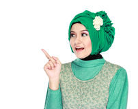 Young moslem woman pointing Stock Photos