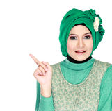Young moslem woman pointing Stock Images