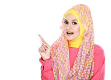 Young moslem woman pointing Stock Image