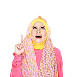 Young moslem woman pointing Stock Photo