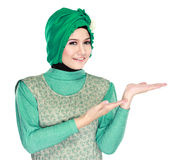 Young moslem woman presenting Stock Photo