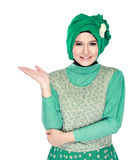 Young moslem woman presenting Royalty Free Stock Photos