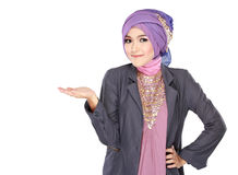 Young moslem woman presenting Royalty Free Stock Images