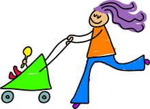Young mother. Pushing her baby in the pram - toddler art series Stock Images