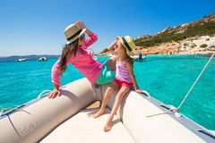 Young mother with adorable daughter enjoy vacation Stock Images