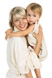 Young mother ang child together bathing Stock Photography
