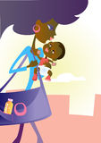 Young mother and baby. Young mother carries a baby and a big bag Stock Image