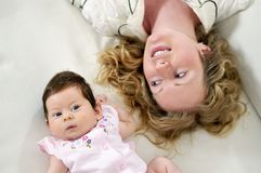 Young mother and baby. Relaxing Stock Images