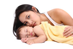 Young mother with baby Stock Images