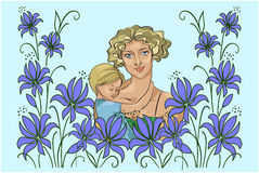 A young mother with baby and abstract flowers. The woman, a young mother with baby and abstract flowers, vector illustration, hand drawing Stock Images