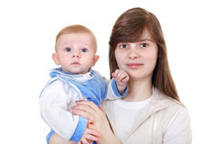Young Mother and Baby Stock Images