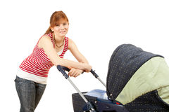 Young mother and baby  buggy Stock Image