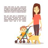 Young mother with baby carriage kid and dog - motherhood poster design. Vector illustration Royalty Free Stock Photo