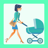 Young mother with a baby carriage. Young modern mother with a pram walking down the street vector illustration