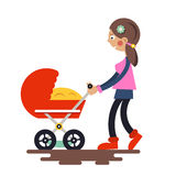 Young Mother with Baby Carriage Stock Photos