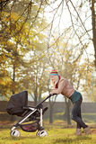 Young mother with a baby carriage walking in a park. A young mother with a baby carriage walking in a park Stock Images
