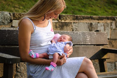 Young mother and a baby girl. Photo of a young mother holding her baby girl Royalty Free Stock Photos