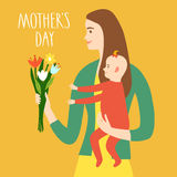 Young mother with baby. Holding a bouquet of flowers. Mother`s  day title. Spring holiday illustration for your design Vector Illustration